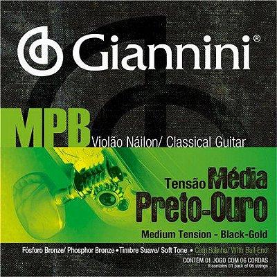 Encordoamento Violão Giannini MPB 028 Nylon Preto-Ouro Tensão Média