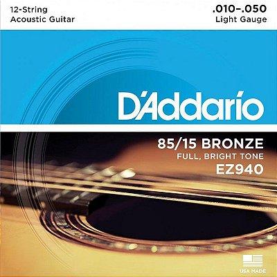 Encordoamento Violão 12 Cordas D'Addario EZ-940 Leve 10-50