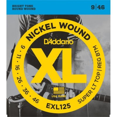 Encordoamento Guitarra D'addario EXL-125 Super Light Top 09-46