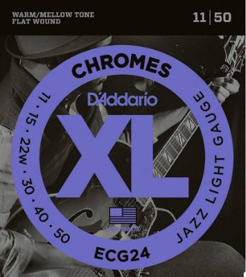 Encordoamento Guitarra D'Addario ECG-24 Jazz Light 11-50