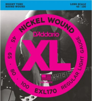 Encordoamento Baixo D'Addario EXL170 4 Cordas Regular Light 045
