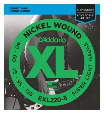 Encordoamento Baixo D'Addario EXL-220-5 5 Cordas Super Light 040