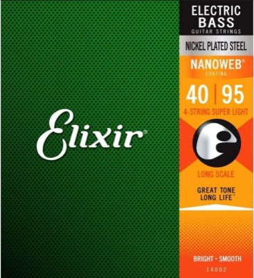 Encordoamento Baixo Elixir Nanoweb Super Light 4 Cordas 40-95