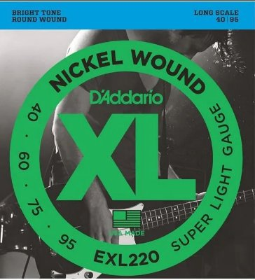 Encordoamento Baixo D'Addario EXL-220 4 Cordas Super Light 040