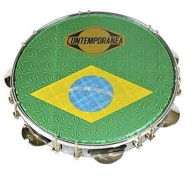"Pandeiro Contemporânea 31CB Fórmica Branca 10"" Brasil Tarraxa Dupla"