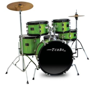 Bateria Infantil Turbo Junior Verde Sparkle