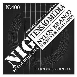 Encordoamento Violão NIG N-400 Nylon Branco Tensão Média