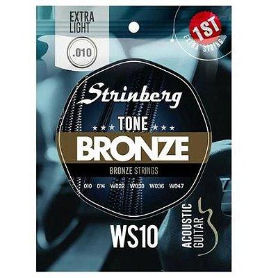 Encordoamento Violão Aço Strinberg WS10 Bronze 010 Extra Leve