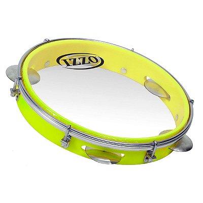 "Pandeiro Izzo ABS 10"" Amarelo Neon Pele Transparente"