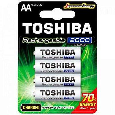 Pilha Toshiba AA 2600MAH 1.2V Recarregável Com 4 Unidades