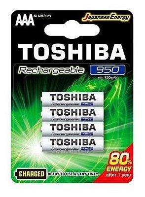 Pilha Palito Toshiba AAA 950MAH 1.2V Recarregável Com 4 Unidades