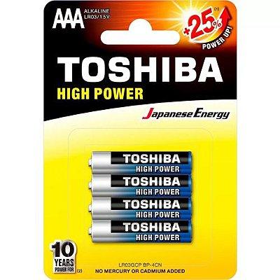 Pilha Palito Toshiba AAA 1.5V Alcalina Com 4 Unidades