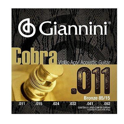 Encordoamento Violão Aço Giannini Cobra 011 Bronze