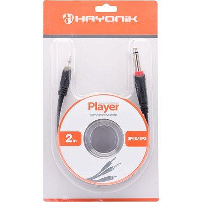 Cabo de Audio Hayonik Player 2P10 Mono x 1P2 Estéreo Preto