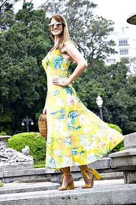Vestido Longo Floral Amarelo
