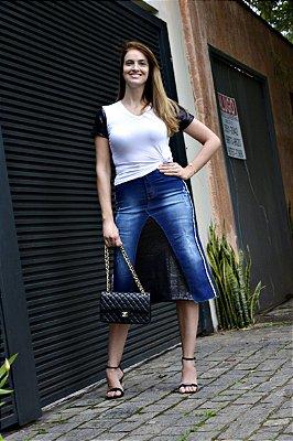 Saia Jeans Midi com paete