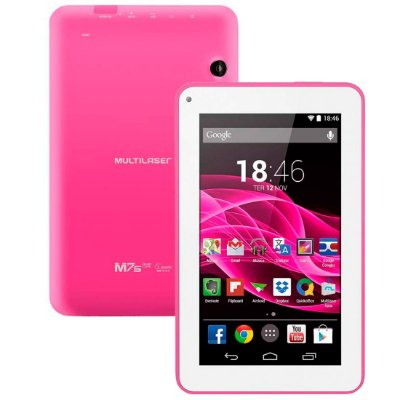 Tablet Multilaser ML Supra Rosa Quad Core Android 4.4 Kit Kat Dual Câmera Wi-Fi Tela 7 Memória 8GB NB201