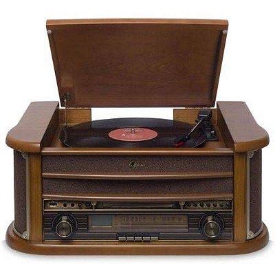 Sistema de Áudio com Toca-Discos de 3 Rotações, FM, CD, Cassete, USB (Reproduz e Grava) Permite a Gravação de LPs, CDs