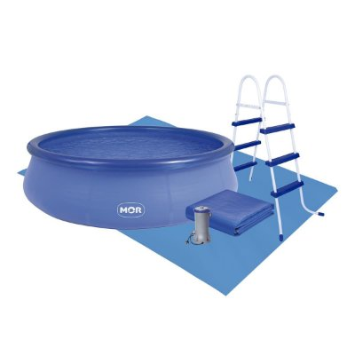 Kit Piscina 9000l C/escada + Capa + Forro + Dvd Explicativo - Mor