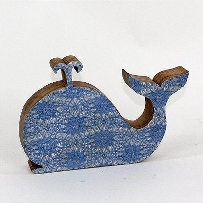 Baleia decorativa em madeira rústica 25cm - Grouper