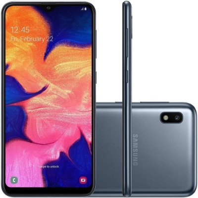 """Smartphone Samsung Galaxy A10 Preto 32GB, Tela Infinita de 6.2"""", Câmera 13MP, Dual Chip, Android 9.0"""