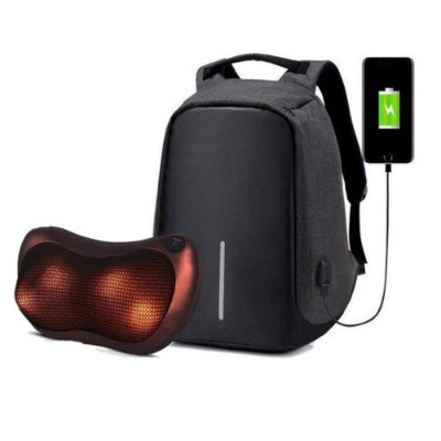 Mochila USB Anti Roubo Furto Com Notebook Laptop - Swissland + Almofada Massageadora