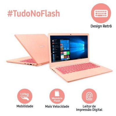 "Notebook Samsung Dual Core 4GB 64GB SSD Tela Full HD 13.3"" Windows 10 Flash F30 NP530XBB-AD3BR"