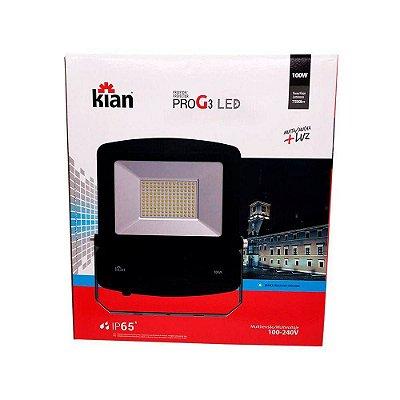 Projetor Led 100W 6500k Pro G3 Preto - Kian