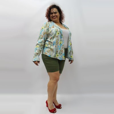 Bermuda 1/2 Coxa colorida com elastano WILLIANS plus size