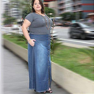 Saia Loga jeans com botões CLEMENTINE