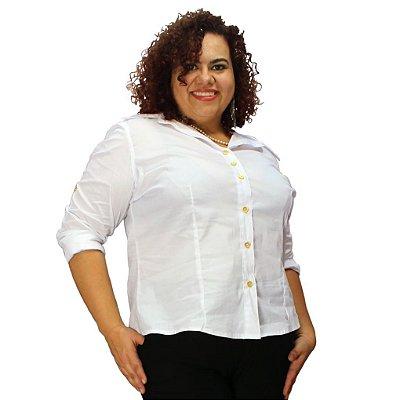 Camisa Manga Longa algodão com elastano WATSON Branca plus Size