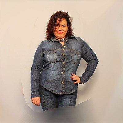 Camisa Jeans Strech Manga longa  - Delos Lavagem Escura Slim and Plus Size