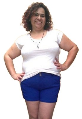 Shorts LADY Super strech Azul-Bic Malha Plus Size