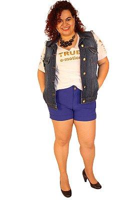Shorts LADY Super strech Azul-Bic Malha Plus Size