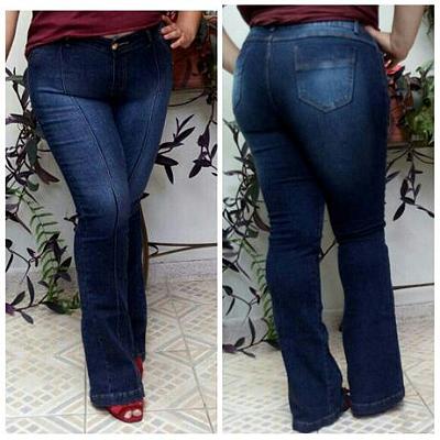Calça Flare Jeans com frizo Stella com elastano