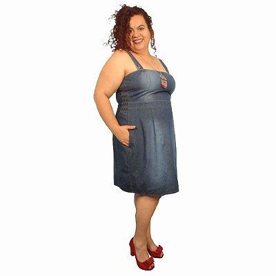 Vestido Jeans Alças WONDER Plus Size Do 46 Ao 60 com elastico na cintura
