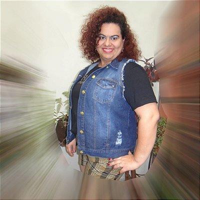 Colete jeans Ritalee - Lavagem clara e escura plus size