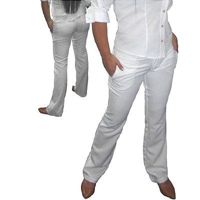 Calça Social Feminina elegance Branca - Slim& Plus Size (do 36 ao 54)