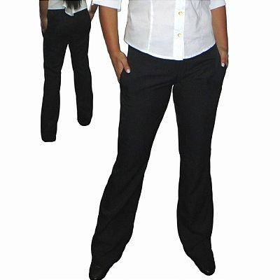 Calça Social Microfibra Padronagem Sutil Risca De Giz -Preto Esp Elegance Slim&  Plus Size (do 34 ao 52)