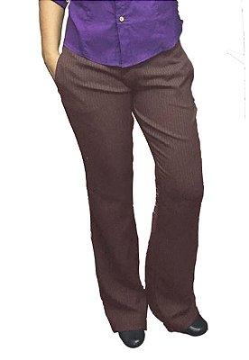 Calça Social Feminina lã sintética Quentinha Risca De Giz Marrom Elegance Slim and Pluz Size (do 34 ao 48)
