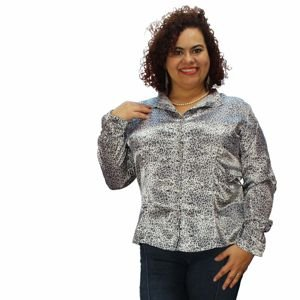 Camisa BOHO Estampada Cetim Onça Plus Size (do 46 ao 60)