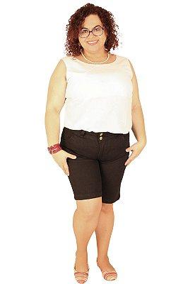 Bermuda Longuinha Jeans Preta True Black Strech Manoela