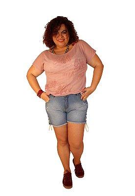 Shorts Jeans Com Detallhe Barra Cordão Lavagem Clara com desgastes - BRAN
