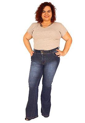 Calça Flare ZENDAIA Jeans Lavagem Stone Plus Size (do 46 ao 60)