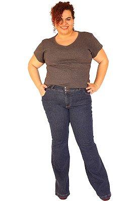 Calça Flare ZENDAIA Jeans Lavagem escura Plus Size Tam: 46