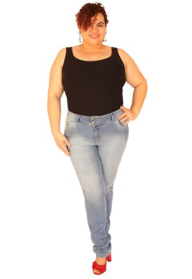 Calça Skinny True e-motion Plus size do 46 ao 58 Jeans Claro - Jules