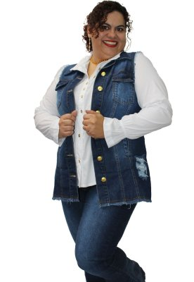 Colete Maxy Jeans SEATTLE - Oversize plus size 68-Destroyed Blue 44 ao 52