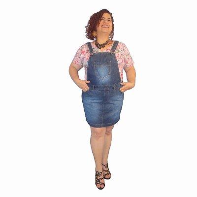 Jardineira Saia Jeans MISS SPRING plus size com fivela 63-Stone Blue Tam: 46; 48