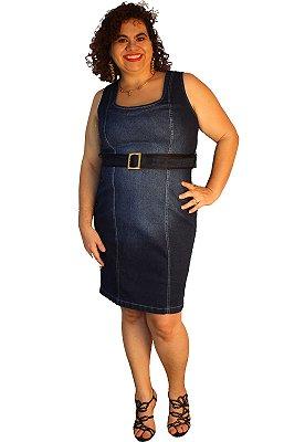 Vestido jeans tubinho strech Aline Jeans azul 64: used pesponto branco Custom