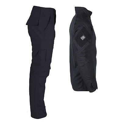 Farda Tática Bélica - Calça e Combat Shirt Preta